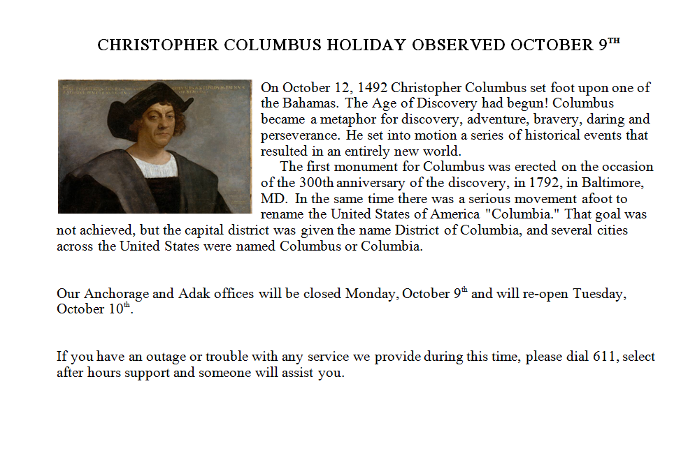 adak columbus day
