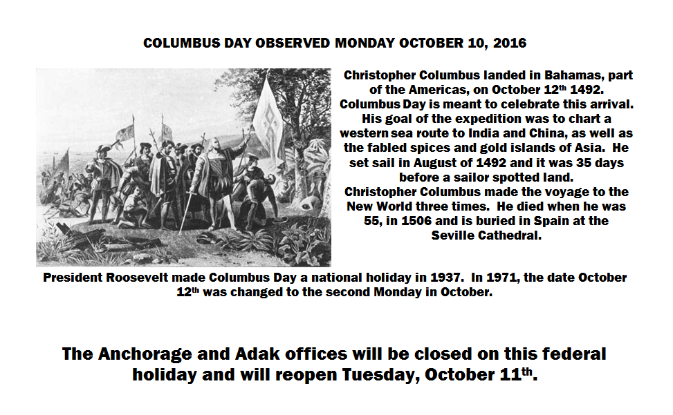 columbus day announcement