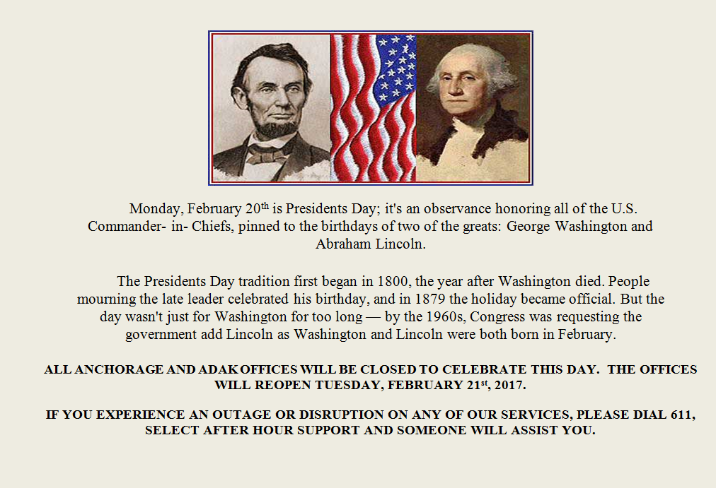 Presidents Day Announcement
