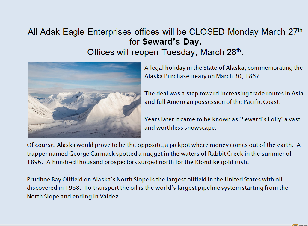 closed on sewards day