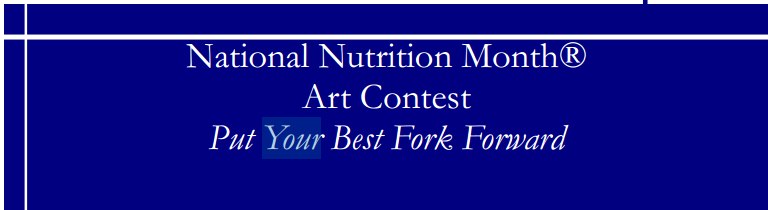 Put Your Best Fork Forward - National Nutrition Month